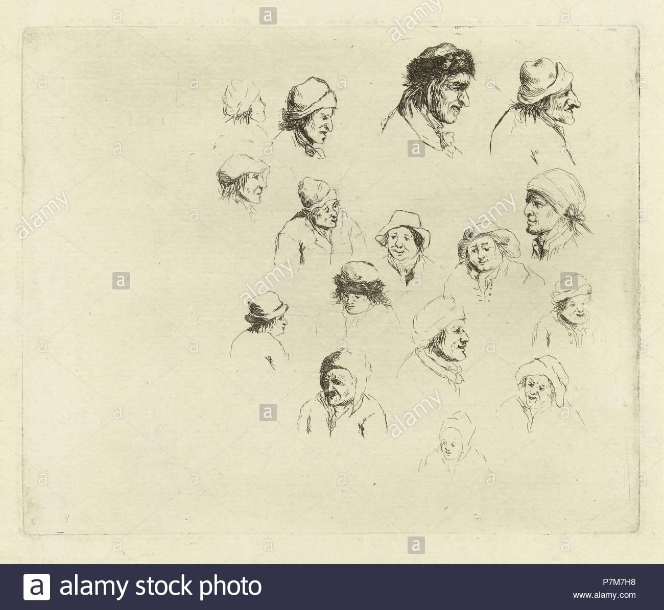 Study Journal sixteen heads, Marie Lambertine Coclers, 1776 - 1815. - Stock Image