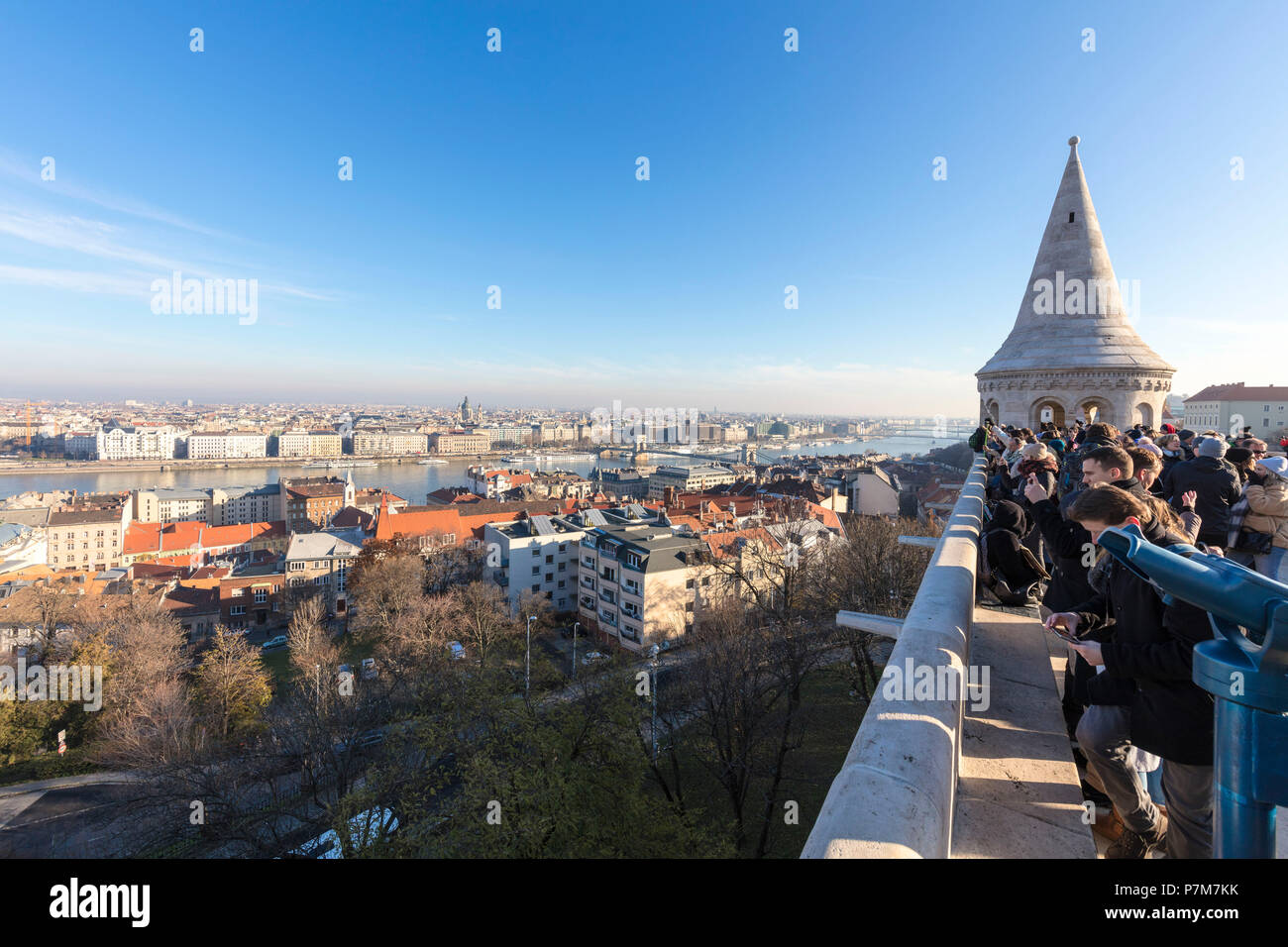 People on terrace of Fisherman's Bastion, Budapest, Hungary - Stock Image