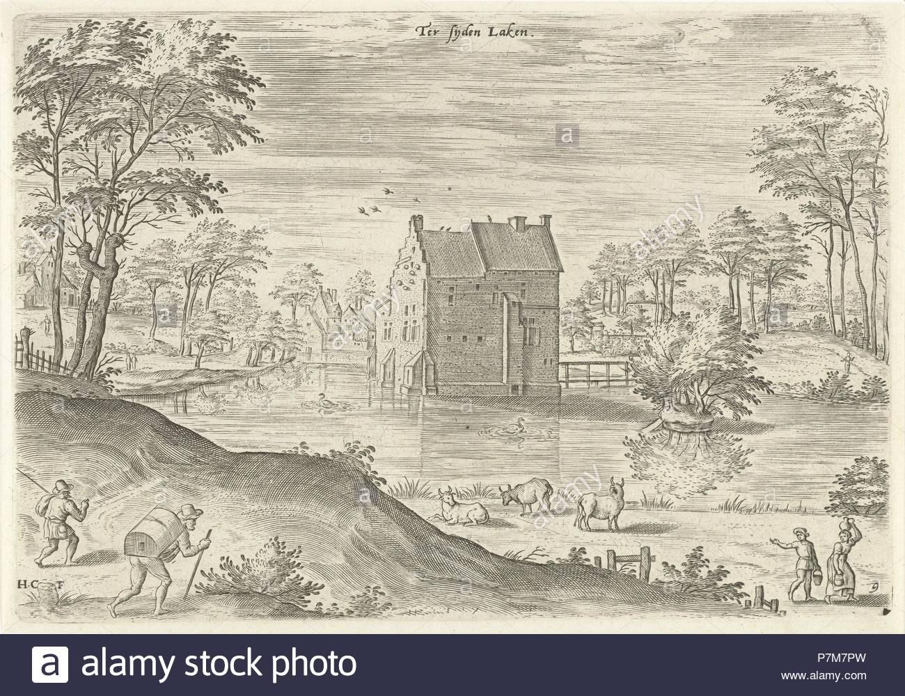 Castle Coensborg in Laken, Hans Collaert I, Hans Bol, Claes Jansz. Visscher II, 1530-1580. - Stock Image