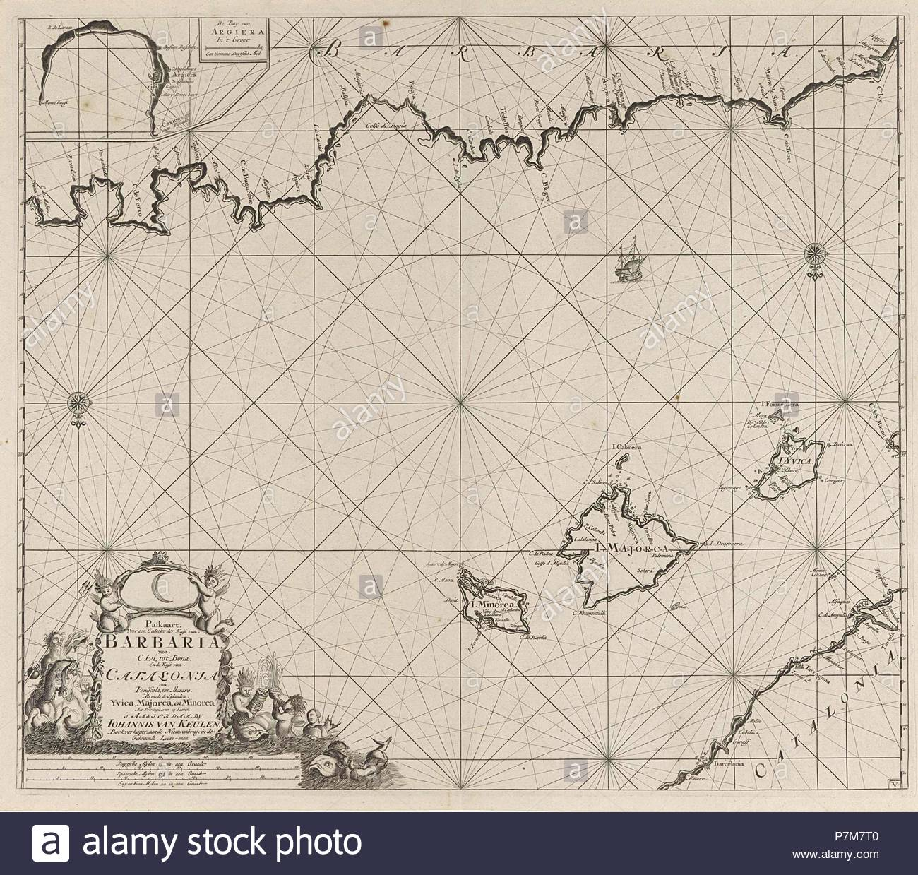 Sea chart of a part of the Mediterranean Sea with the coasts of Spain and Algeria, Anonymous, Johannes van Keulen (I), unknown, 1682 - 1803. - Stock Image