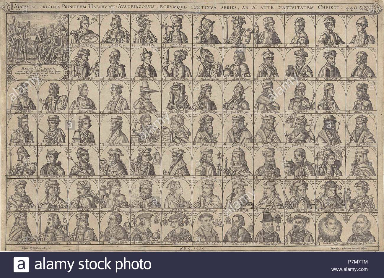 Portraits of princes of the House of Habsburg, print maker: Franciscus Schelhauer, 1620. - Stock Image