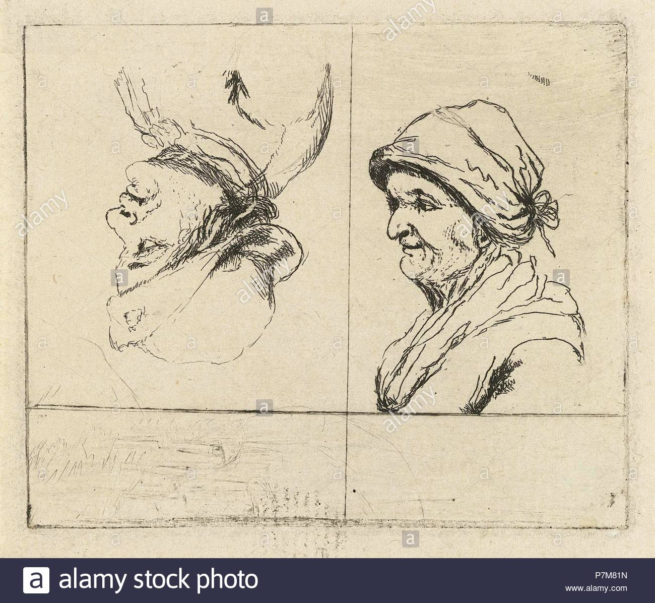 Study Sheet with two portrait busts, Marie Lambertine Coclers, 1776 - 1815. - Stock Image