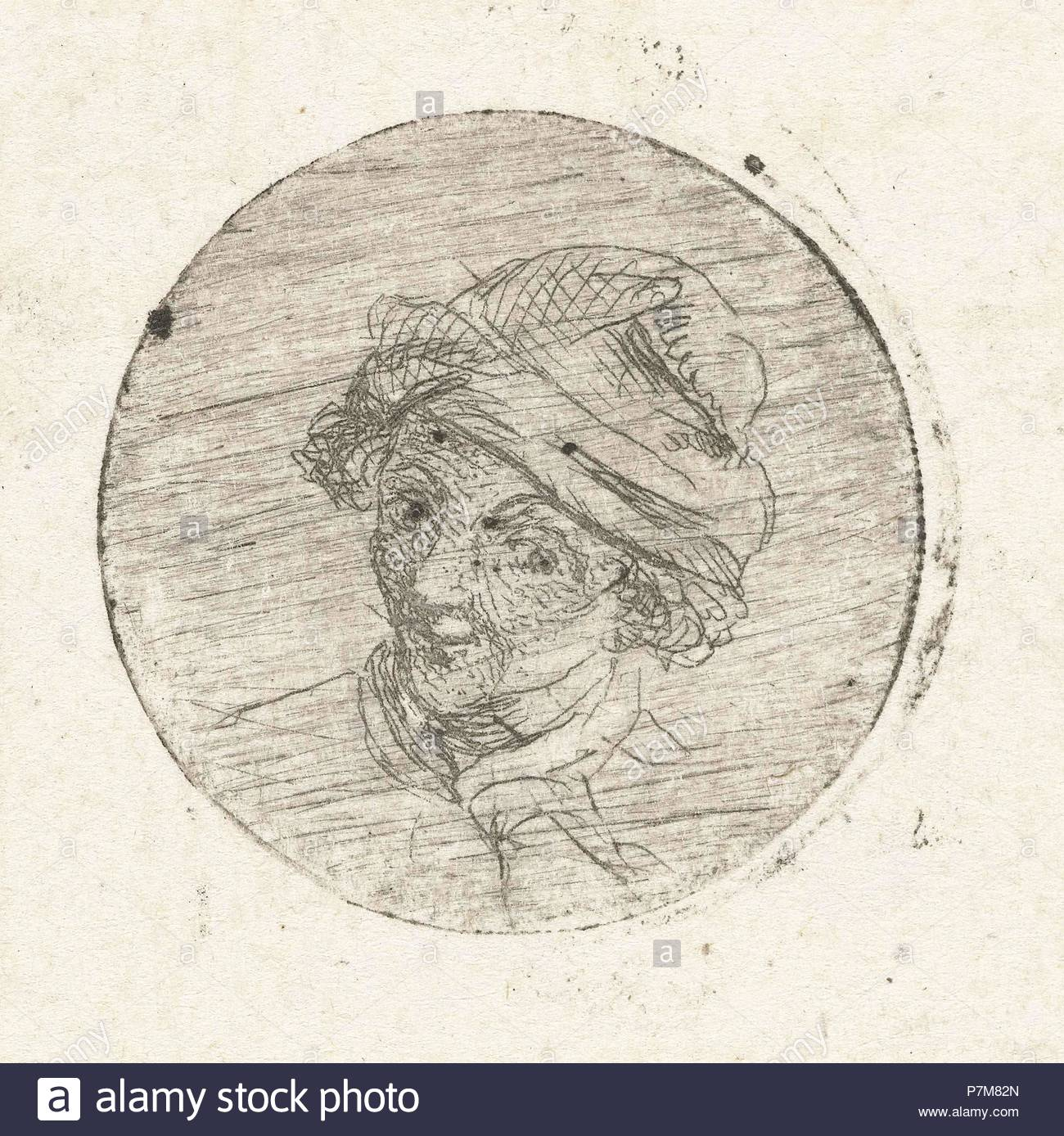 Mans Head with cap, print maker: Marie Lambertine Coclers, 1776 - 1815. - Stock Image