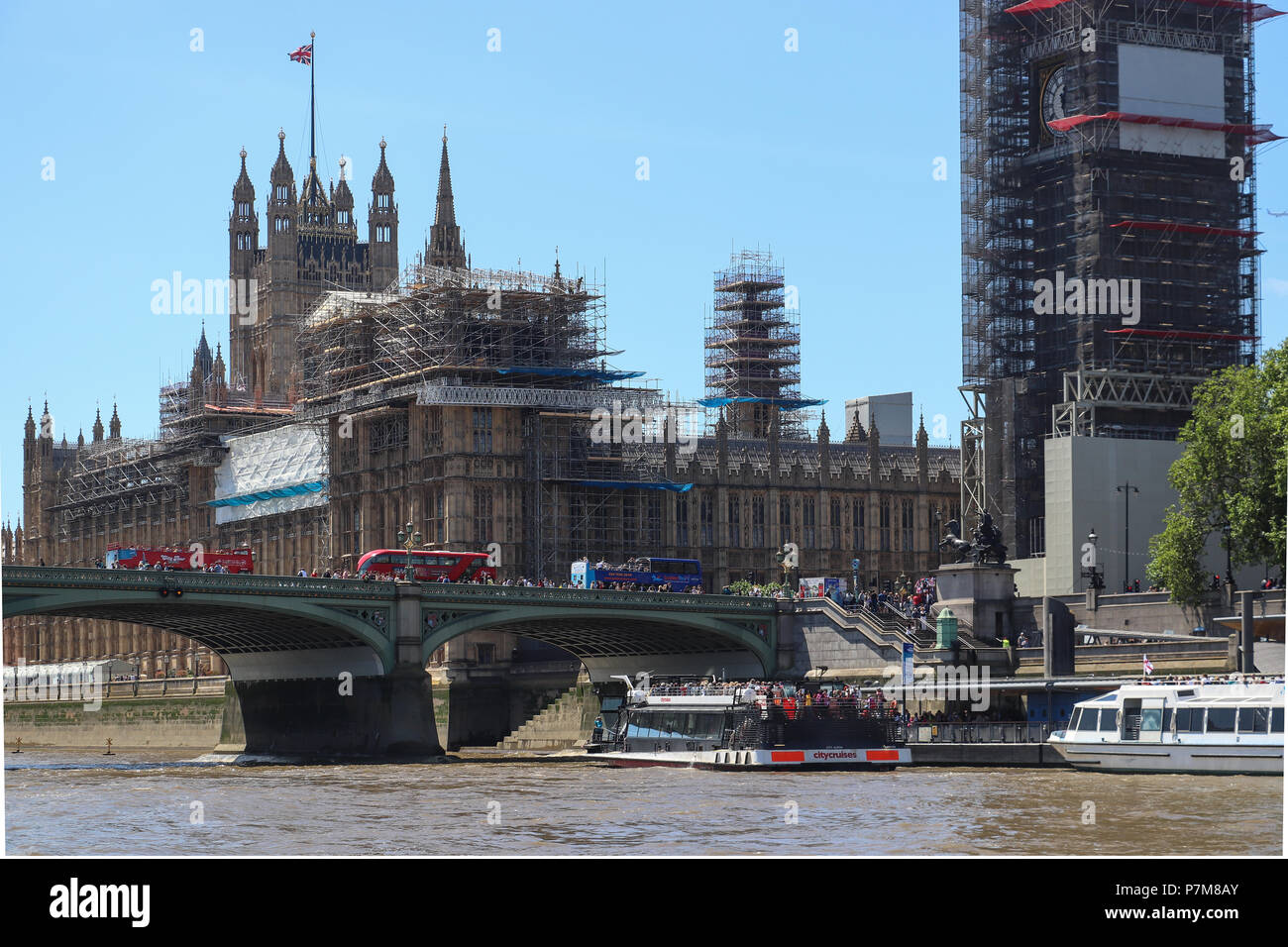 Palace of Westminster,viewed from the River Thames, with its Layher system scaffolding as the Restoration and Renewal Programme begins conservation. - Stock Image