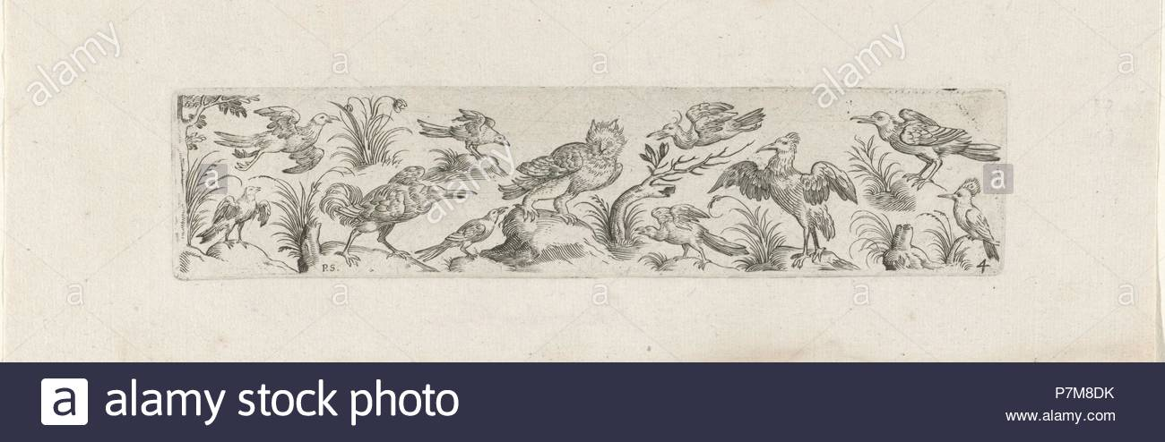 Frieze with eleven birds, at the left end of the frieze is a tree, print maker: Pieter Serwouters, Hans Collaert I, Marcus Geeraerts, c. 1607. - Stock Image