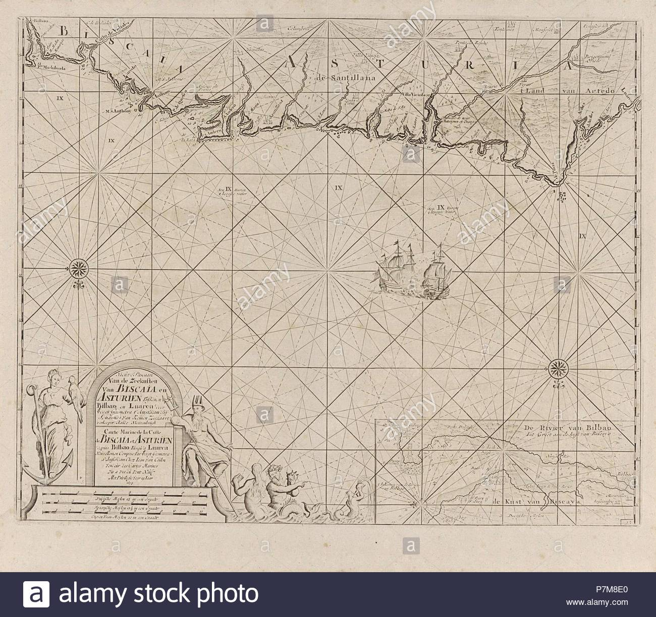 Sea chart of a portion of the Bay of Biscay in Bilbao, Anonymous, Claes Jansz Voogt, Johannes van Keulen (II), 1734 - 1803. - Stock Image
