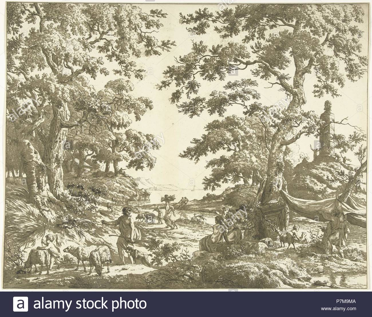 Arcadian landscape with Janus Picture, Marie Lambertine Coclers, 1776 - 1815. - Stock Image