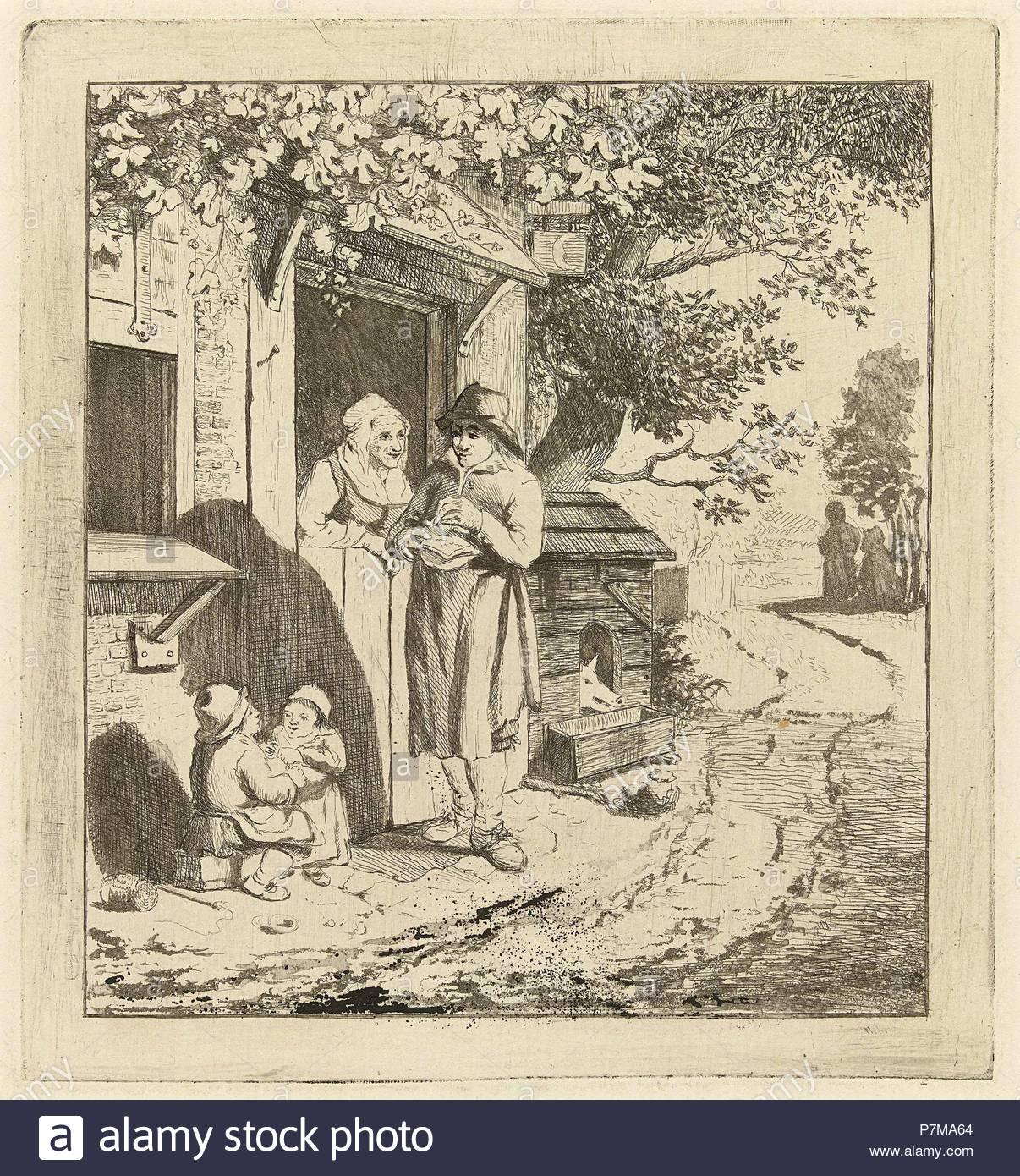 Man at the door of an inn, Marie Lambertine Coclers, 1776 - 1815. - Stock Image