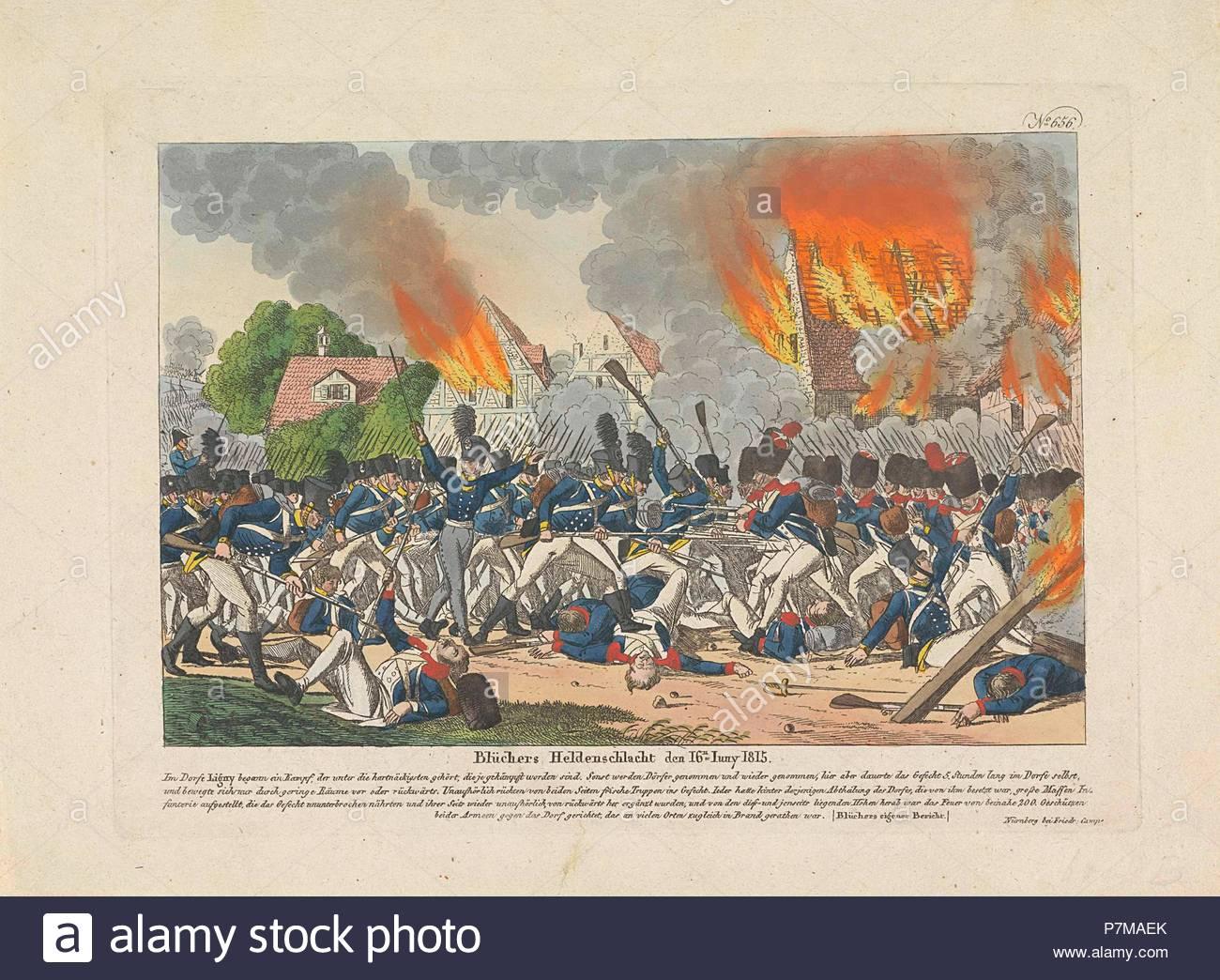 Battle of Ligny, 1815, Belgium, Anonymous, Friedrich Campe, 1815. - Stock Image