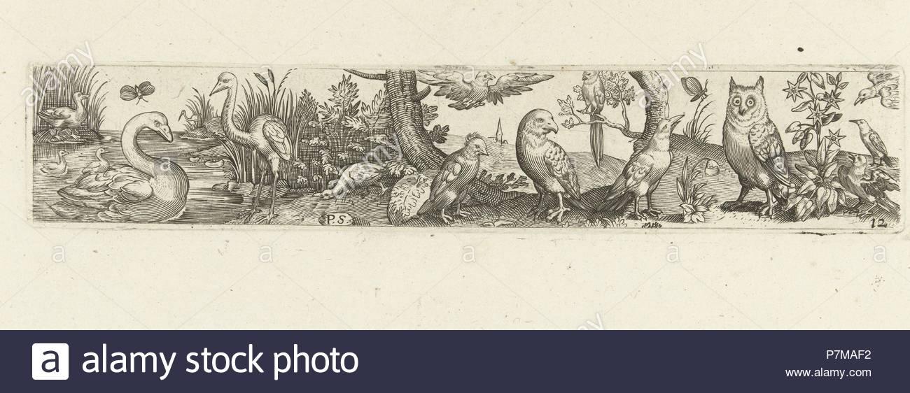Frieze with fifteen birds, Pieter Serwouters, Hans Collaert (I), Marcus Geeraerts, c. 1607. - Stock Image