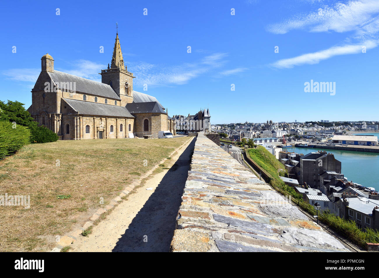 France, Manche, Cotentin, Granville, the Upper Town built on a rocky headland on the far eastern point of the Mont Saint Michel Bay, Notre Dame du Cap Lihou church - Stock Image