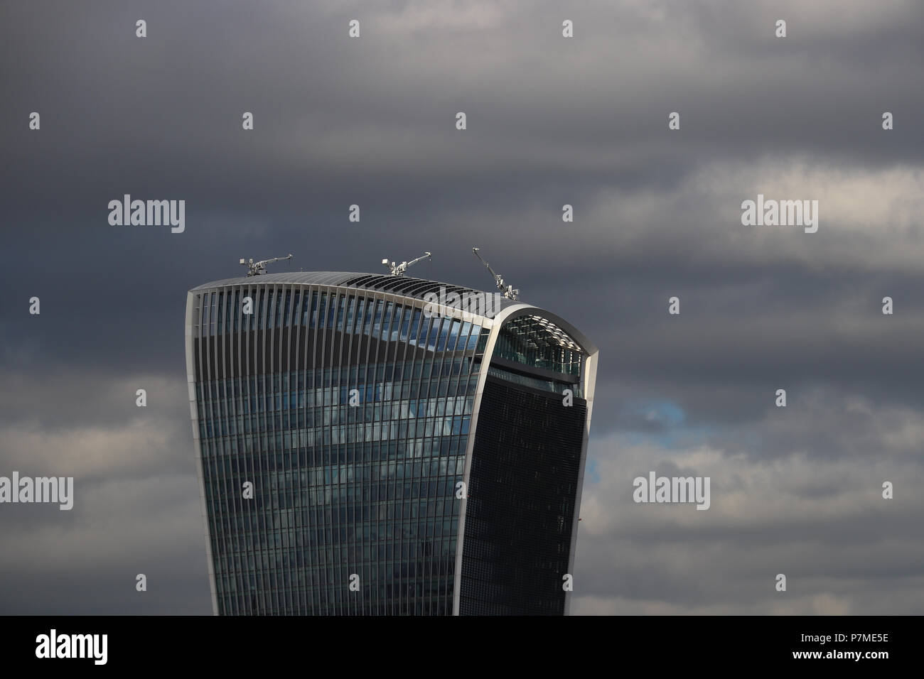 The new high-rise located at 20 Fenchurch St., London, is called the Walkie Talkie because of its unusual concave shape, like an old mobile phone. - Stock Image