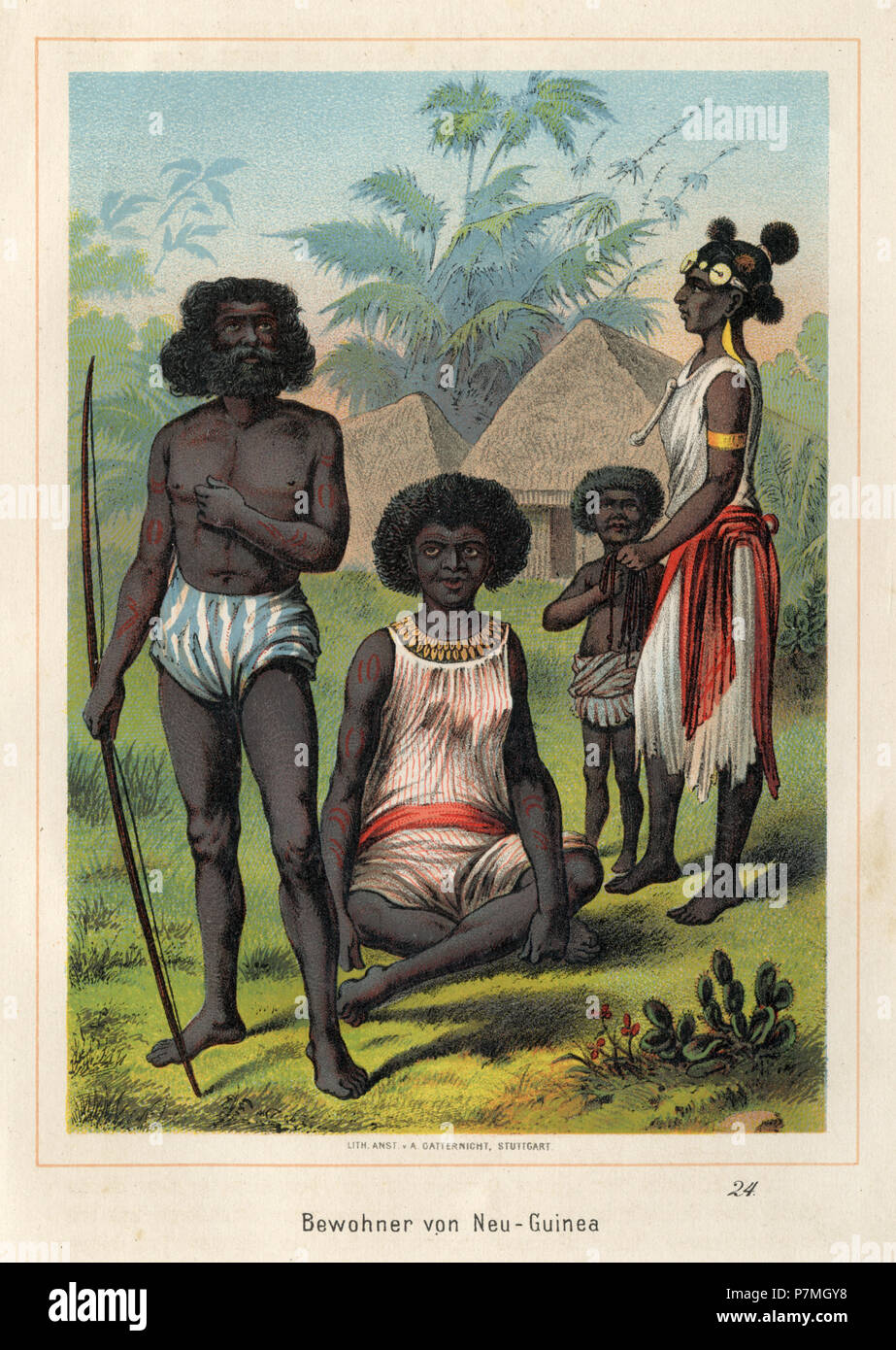 Residents of New Guinea, - Stock Image