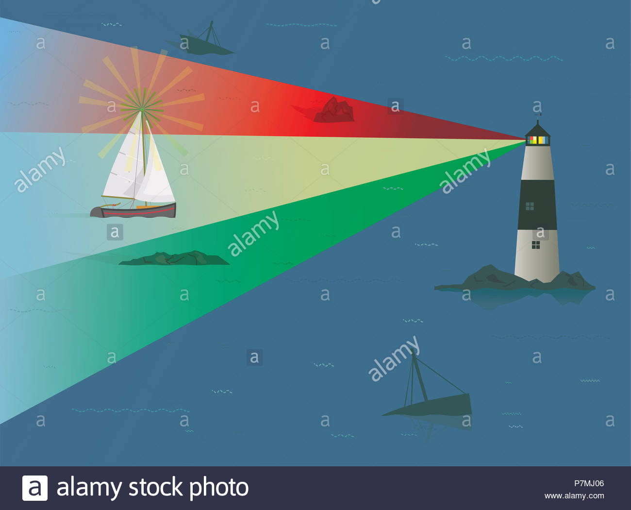 Sailboat being guided through Treacherous Rocks at Night by Beacon of Light from Lighthouse, Risk Concept, Skill, Experience, Navigation, Guiding Ligh - Stock Image