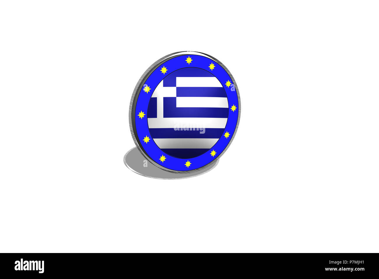 EU button on a button with Greek flag. 3D image - Illustration. - Stock Image