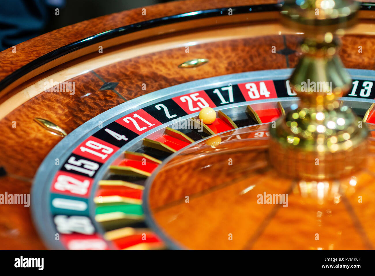 Roulette wheel in casino. Close up - Stock Image