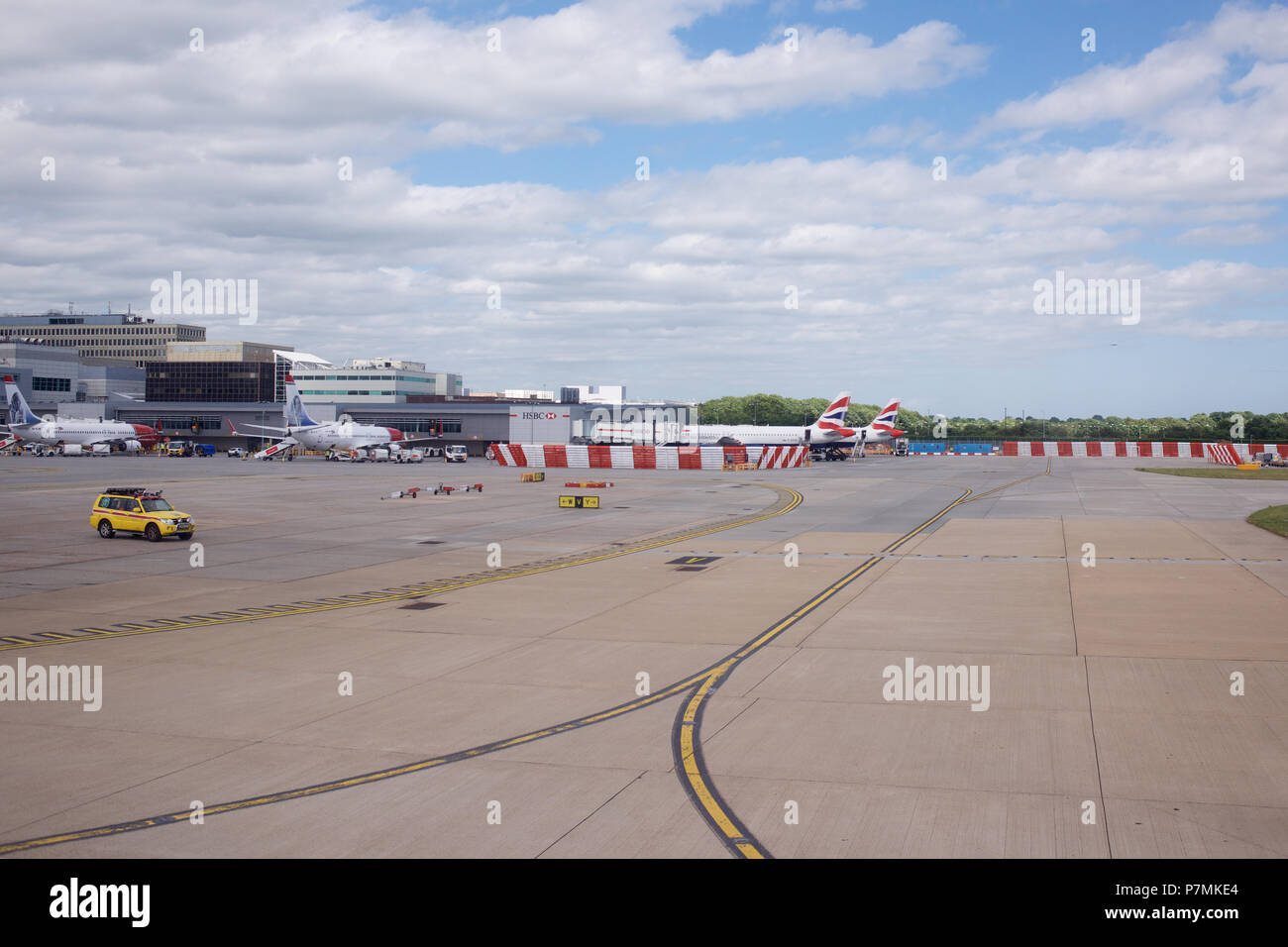 London Gatwick airport viewed from an aircraft - Stock Image