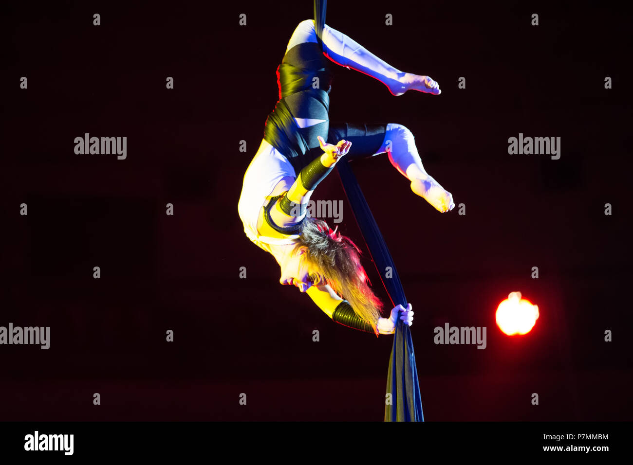 Belarus, Gomel, April 1, 2018. Gomel State Circus. Performance of the team of the Moscow circus Nikulin.Acrobat on the canvases. Gymnast the circus ac - Stock Image