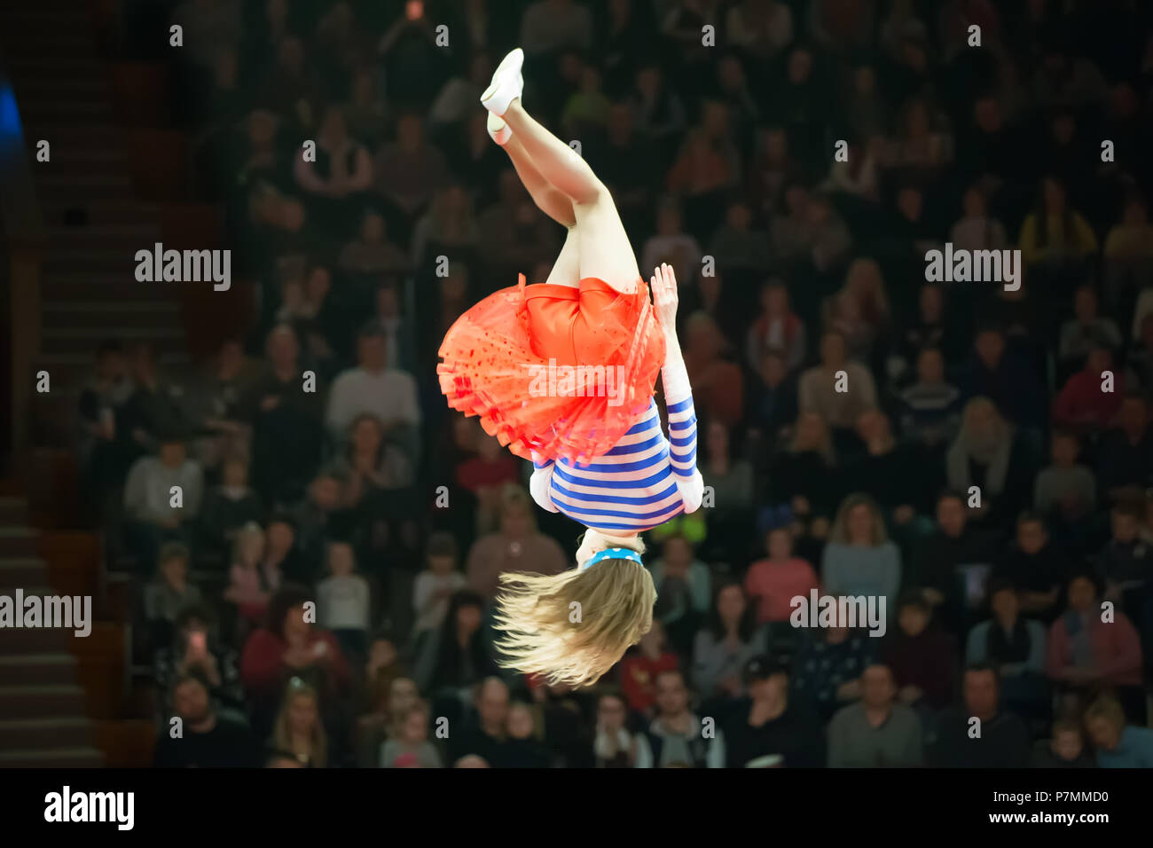 Belarus, Gomel, April 1, 2018. Gomel State Circus. Performance of the team of the Moscow circus Nikulin.A dangerous jump of the head of a circus gymna - Stock Image