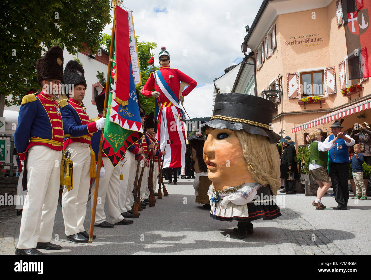 Austria, Salzburg State, Lungau region, Mauterndorf, Samson procession, Samson, giant figure, female dwarf, parade, Stock Photo