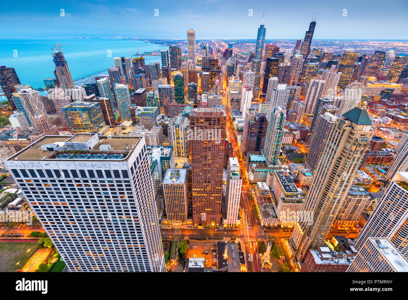 Chicago, Illinois, USA aerial cityscape at dusk. - Stock Image