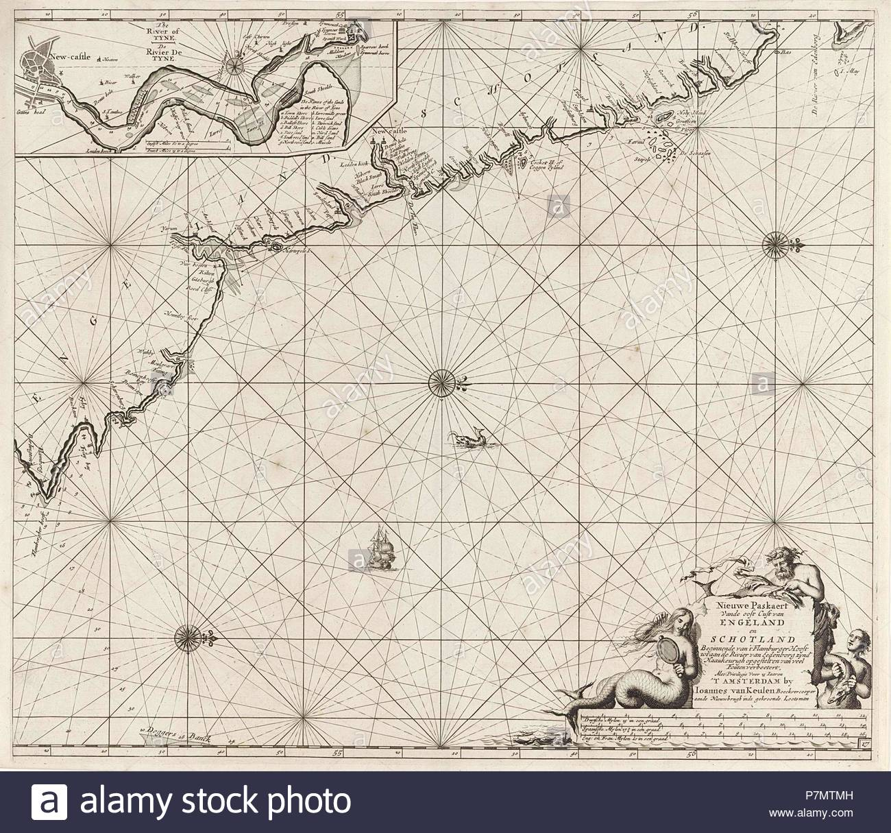 Sea chart of part of the northeast coast of England and part of Scotland, Jan Luyken, Johannes van Keulen (I), unknown, 1681 - 1799. - Stock Image