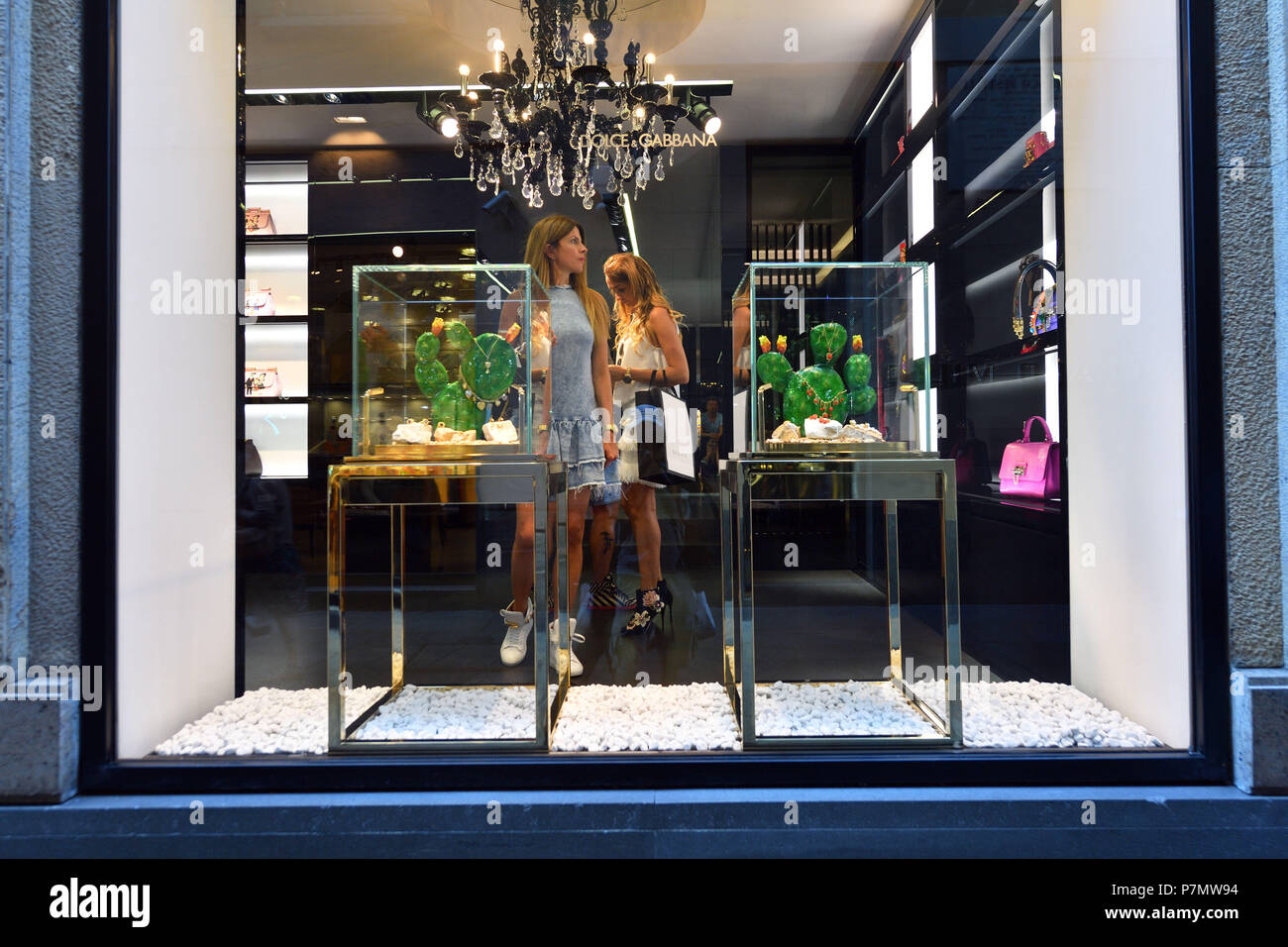 Italy, Lombardy, Milan, Fashion Quadrilateral, Via della Spiga, Dolce and Gabbana Store - Stock Image