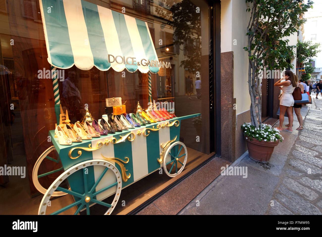 Italy, Lombardy, Milan, Fashion Quadrilateral, Via della Spiga, Dolce and Gabbana Store - Stock Image