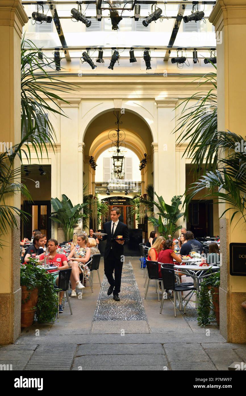 Italy, Lombardy, Milan, Fashion Quadrilateral, Via della Spiga, Dolce and Gabbana sartoria, Bar - Stock Image