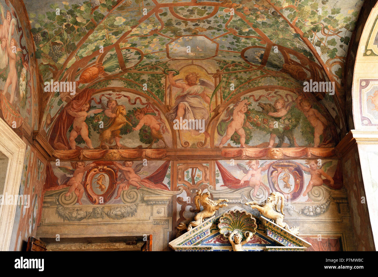 Italy, Lazio, Rome, historical center listed as World Heritage by UNESCO, Piazza Navona district, Palazzo Altemps (Roman National museum), Emperors' Loggia Stock Photo