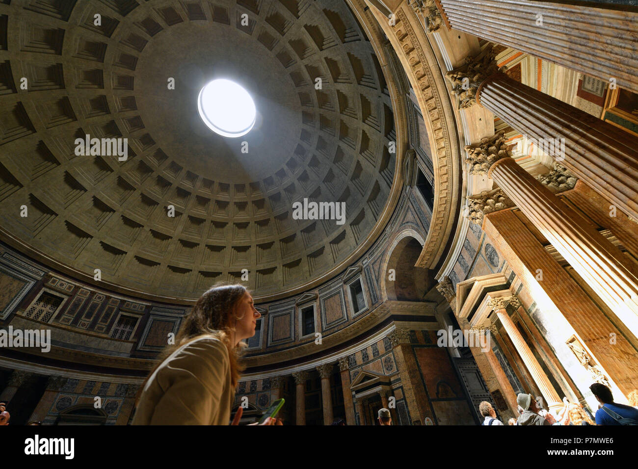 Italy, Lazio, Rome, historical centre listed as World Heritage by UNESCO, Piazza della Rotonda, the Pantheon, the dome inside the Pantheon - Stock Image