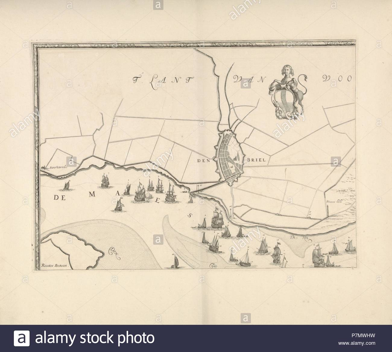 Map of Brielle and the banks of the Meuse, The Netherlands, Jacob Quack, 1665. - Stock Image
