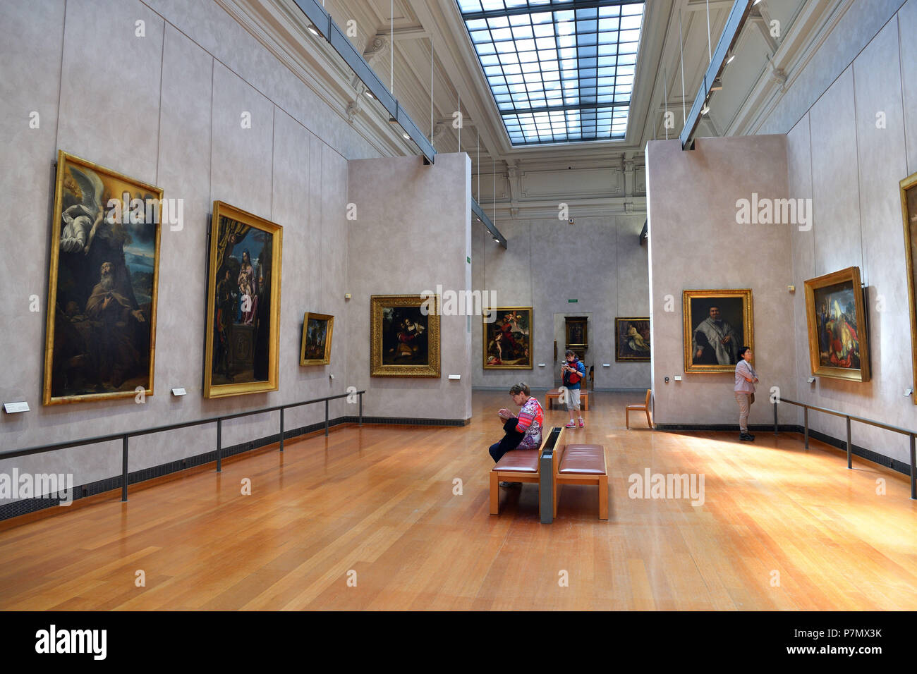 France, Rhone, Lyon, historical site listed as World Heritage by UNESCO, Palais Saint Pierre, Musee des Beaux Arts (Fine Art Museum), hall of the paintings of the XVIIth century Stock Photo