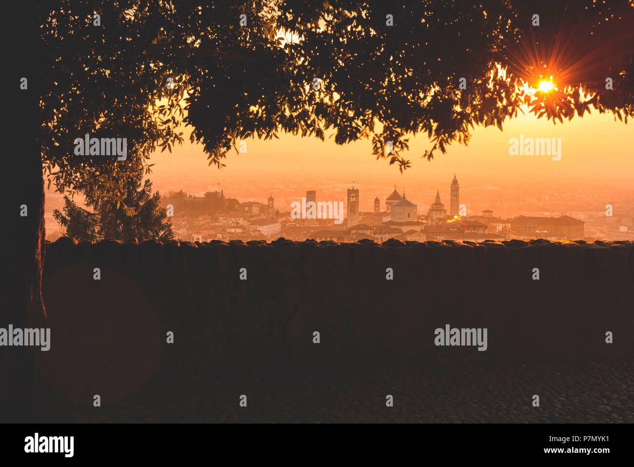 Sunrise in Bergamo Upper Town, città alta, Bergamo City, Province of Bergamo, Lombardy district, Italy, Europe - Stock Image
