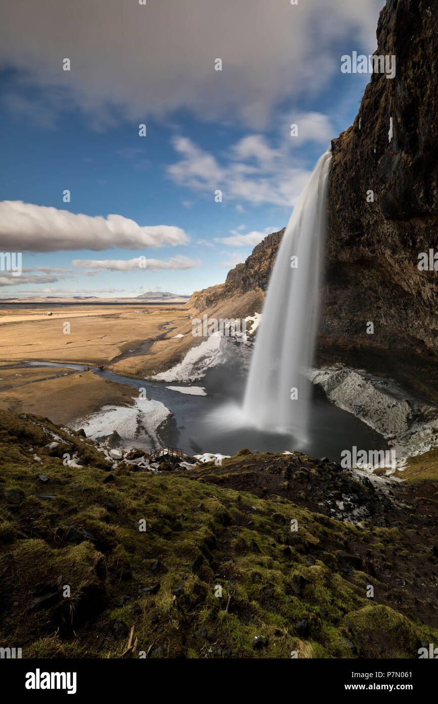 Seljalandsfoss waterfall in winter day, Sudurland, south Iceland, Iceland, Europe, - Stock Image