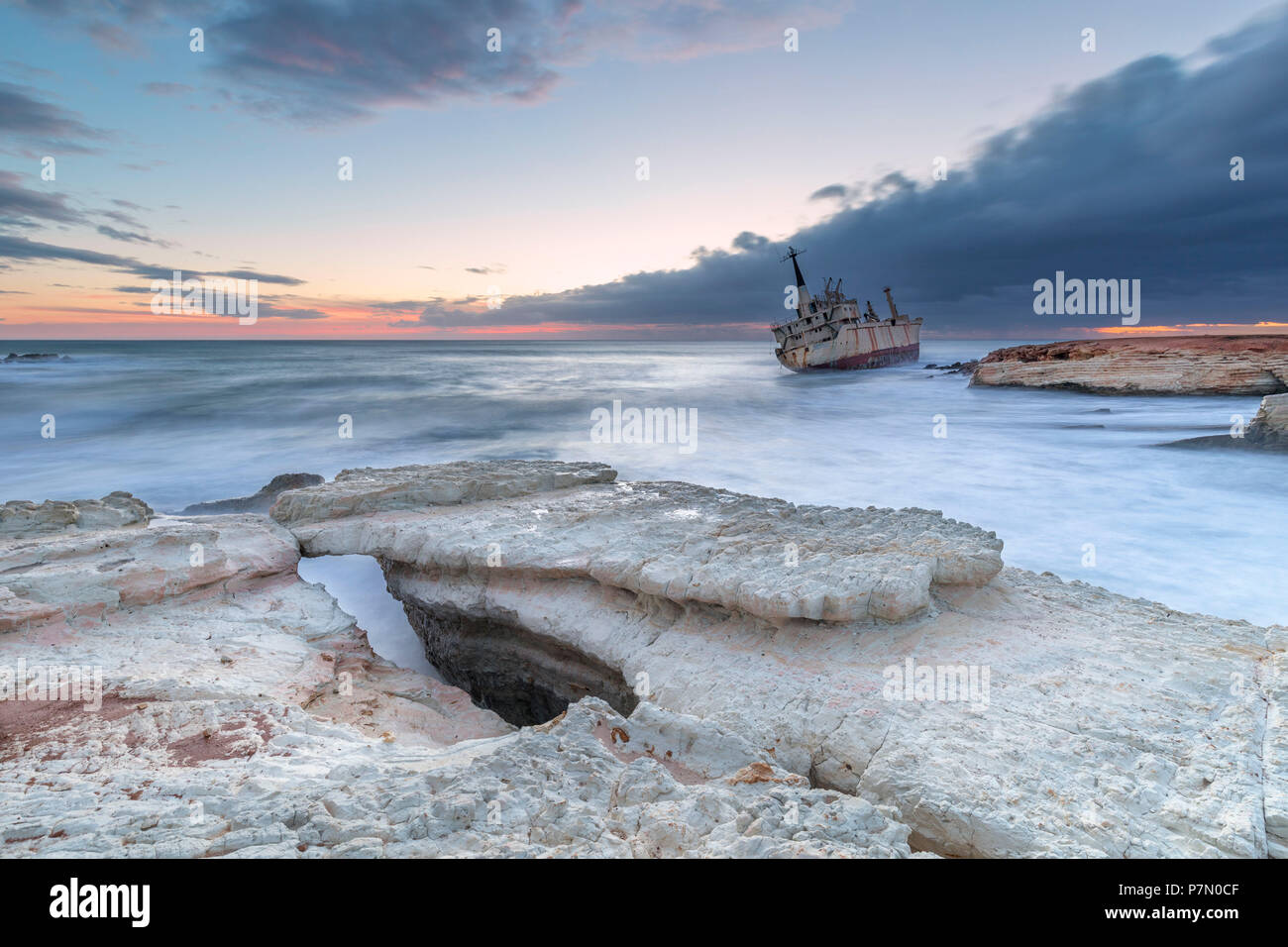 Cyprus, Paphos, Coral Bay, the shipwreck of Edro III at sunset - Stock Image