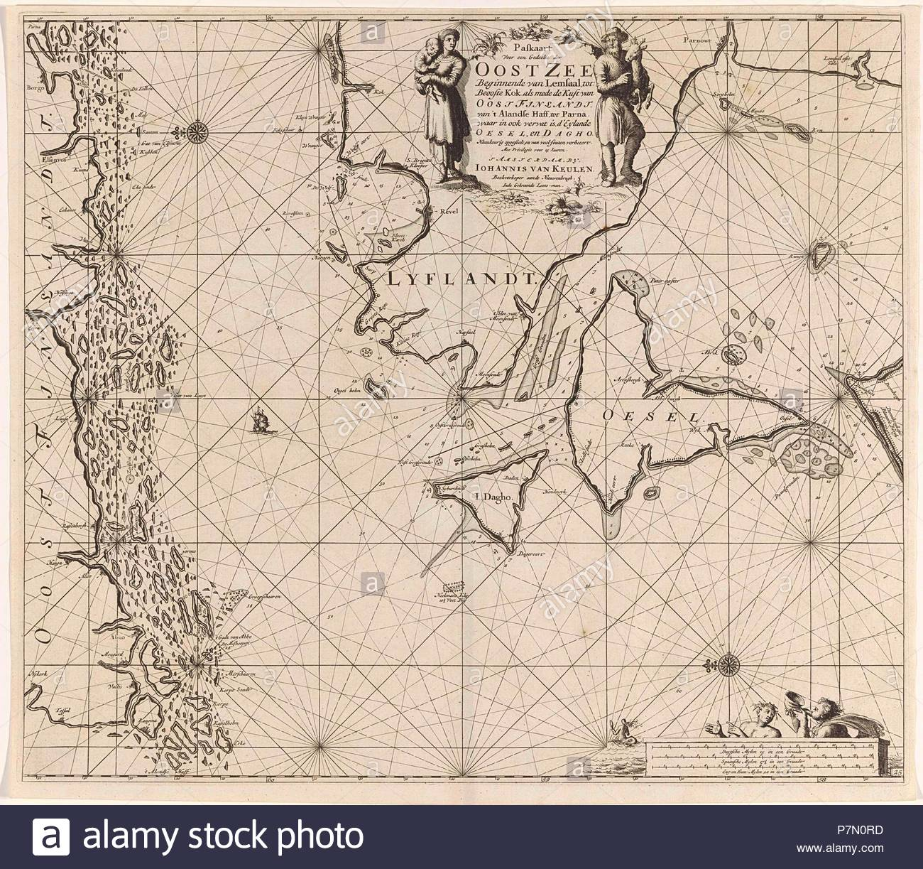 Sea chart of the mouth of the Gulf of Finland in the Baltic Sea, Jan Luyken, Johannes van Keulen (I), unknown, 1681 - 1799. - Stock Image