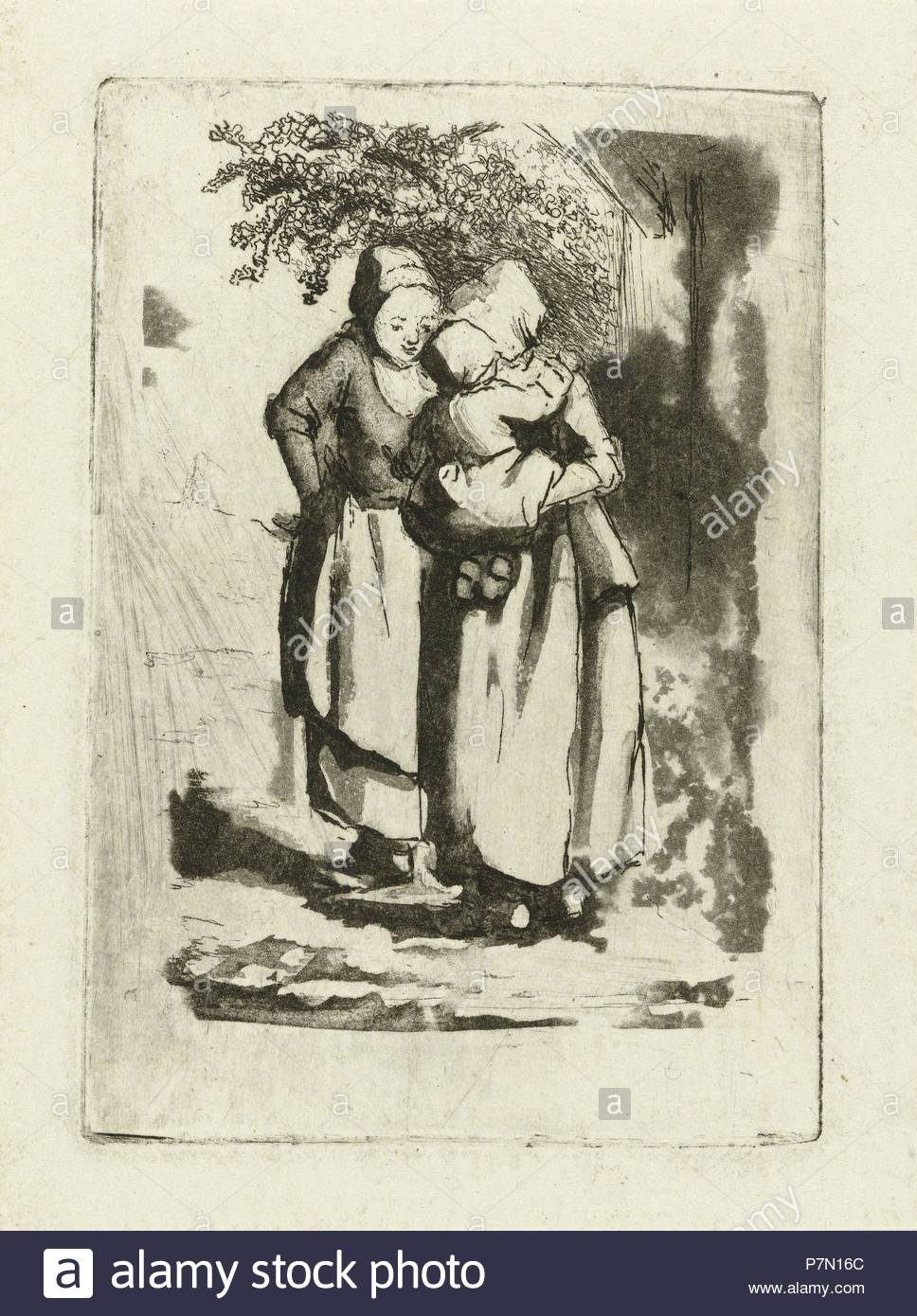 Two standing peasant women, one with a child on her arm, Marie Lambertine Coclers, 1776 - 1815. - Stock Image