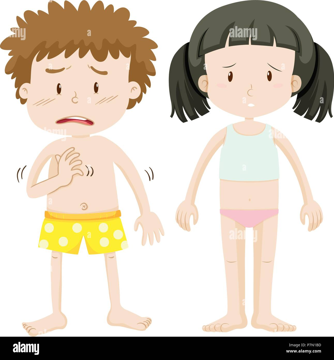 Unhappy Boy and Girl on White Background illustration - Stock Vector