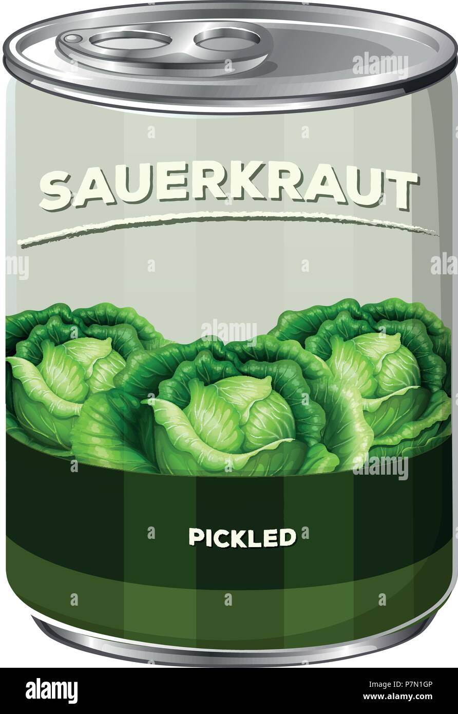 A Can of Sauerkraut illustration - Stock Vector