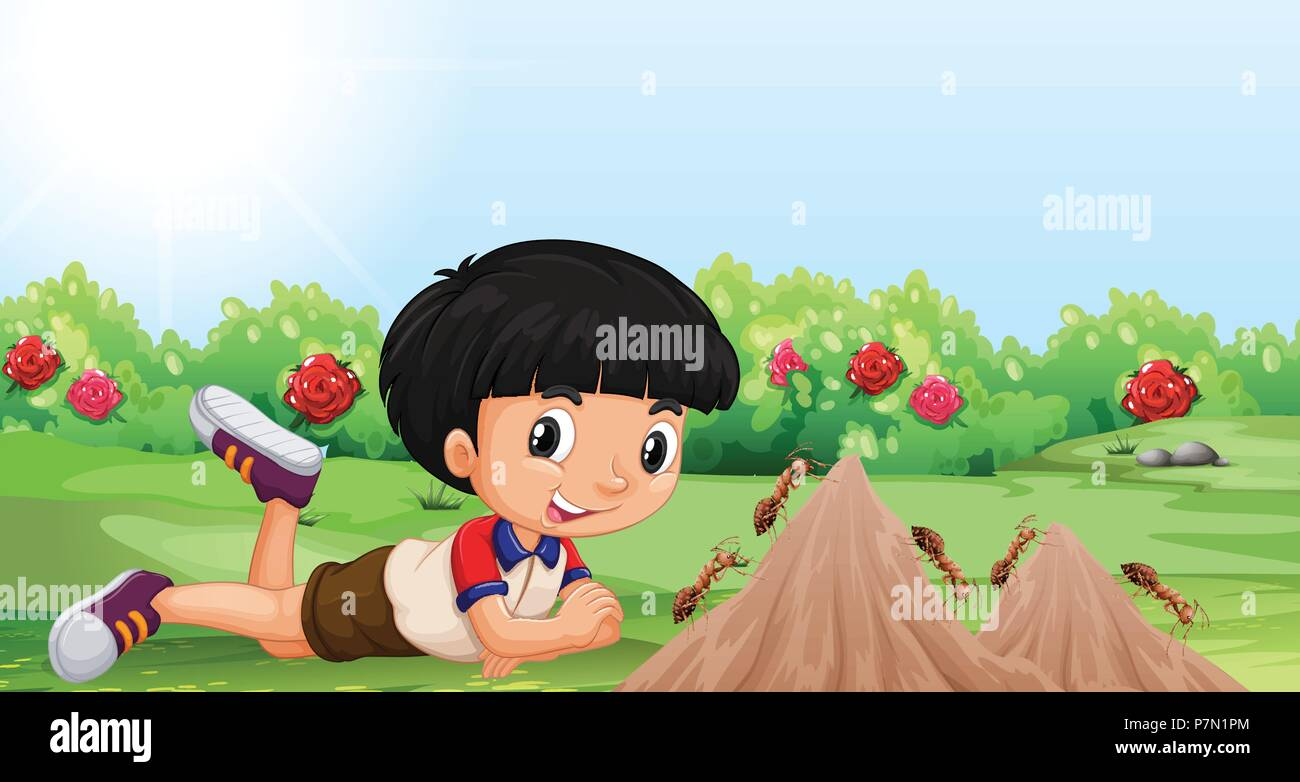 Young boy with an ant mound illustration Stock Vector Art