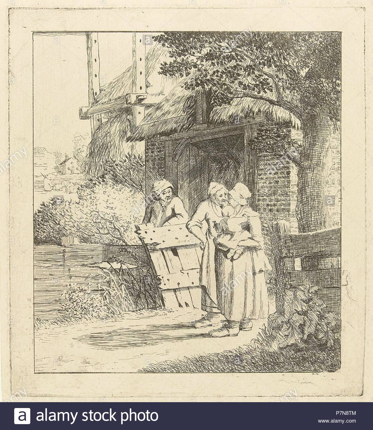 Two women and a man on a farm, print maker: Marie Lambertine Coclers, 1776 - 1815. - Stock Image