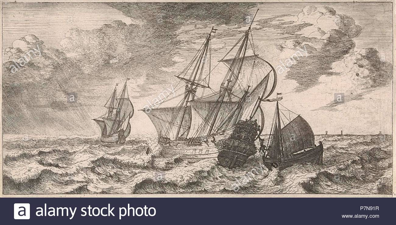 A pilot is taken at sea aboard from a pilot boat, print maker: Joost van Geel (attributed to), Dating 1665. - Stock Image