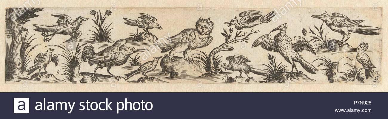 Frieze featuring eleven birds, at the left end is a tree, Hans Collaert (I), Claes Jansz. Visscher (II), 1631. - Stock Image