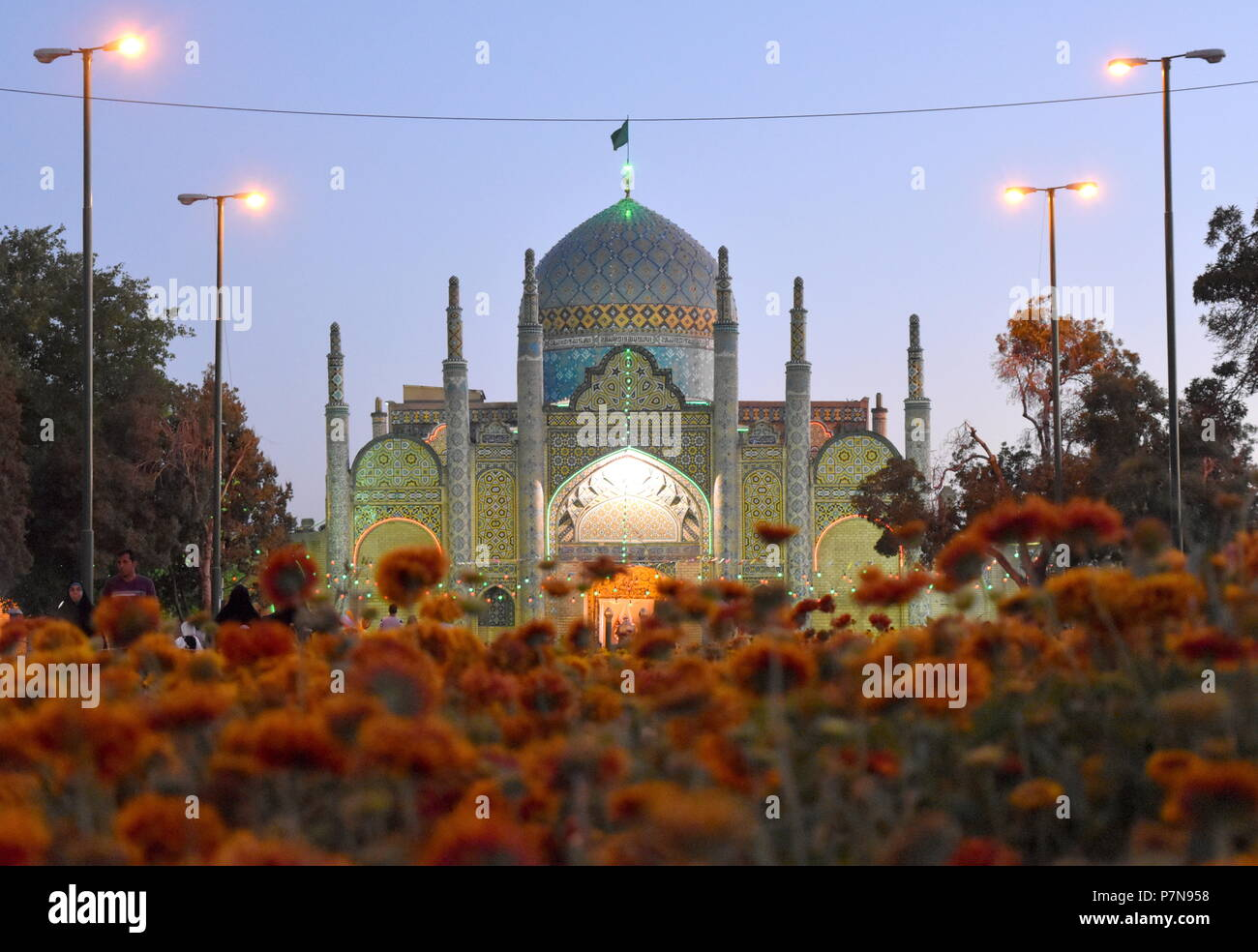 Beautiful old Islamic Shia mosque and shrine in Qazvin, Iran, at dusk - an example of Silk Road and Middle East exquisite architecture and art - Stock Image