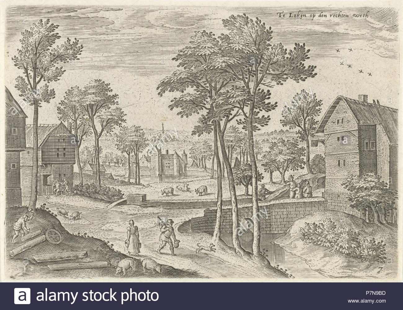 View of the main street of Laeken, Belgium, Hans Collaert (I), Hans Bol, Claes Jansz. Visscher (II), 1530 - 1580. - Stock Image