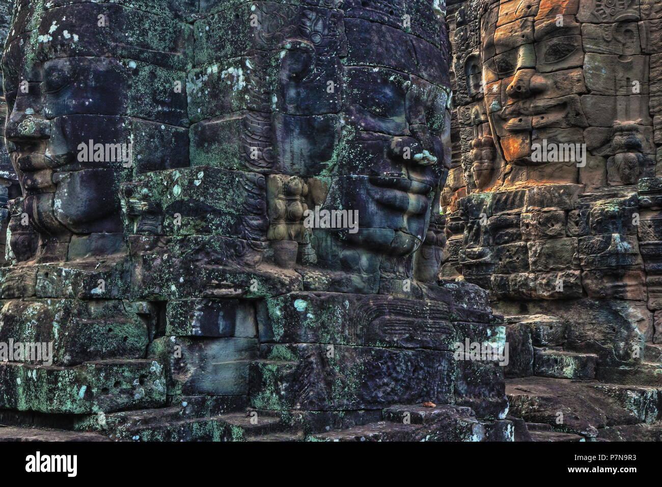 Angkor Wat, Angkor Thom, and Prasat Bayon, Siem Reap, Cambodia Stock Photo