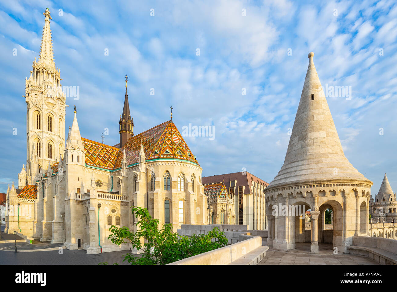 Matthias Church and tower of Fisherman's Bastion in Budapest, Hungary. - Stock Image