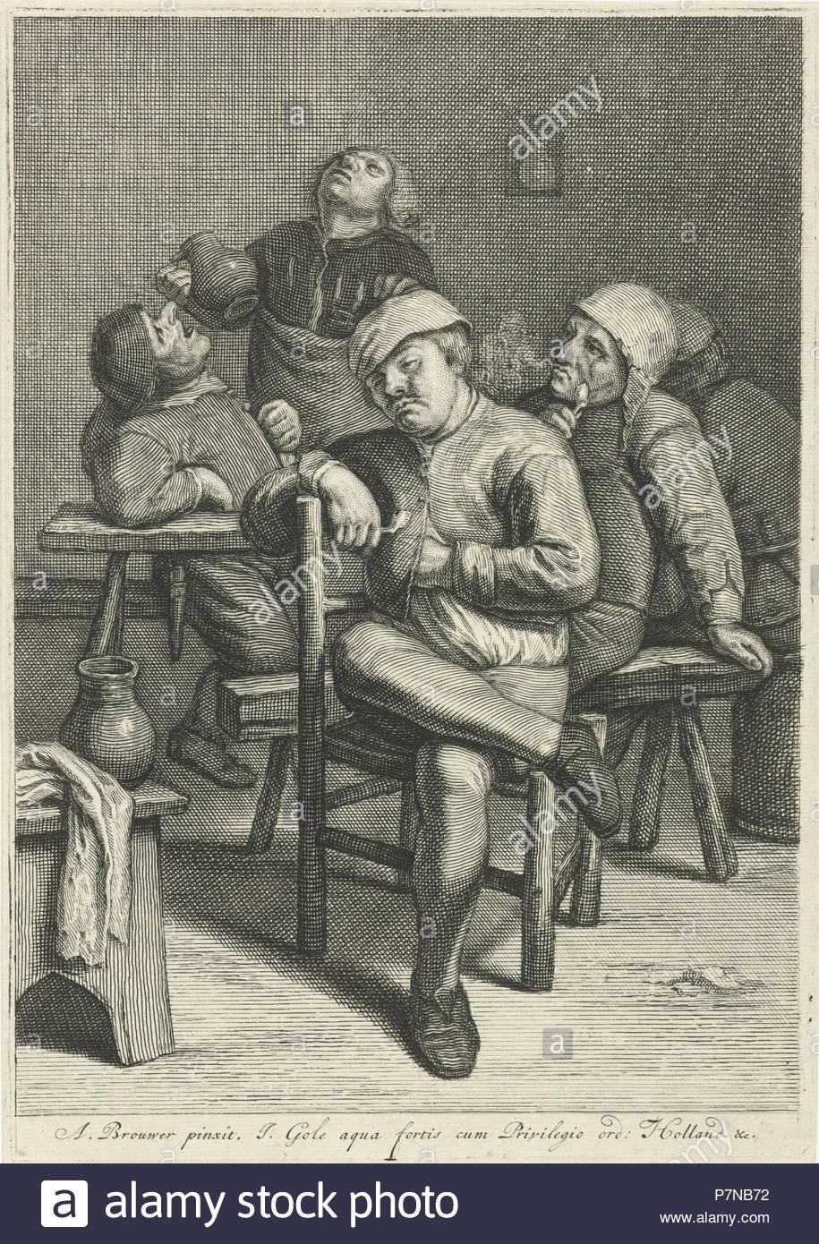 Tavern Scene with smoking farmers, Jacob Gole, Republiek der Zeven Verenigde Nederlanden, 1670 - 1724. - Stock Image