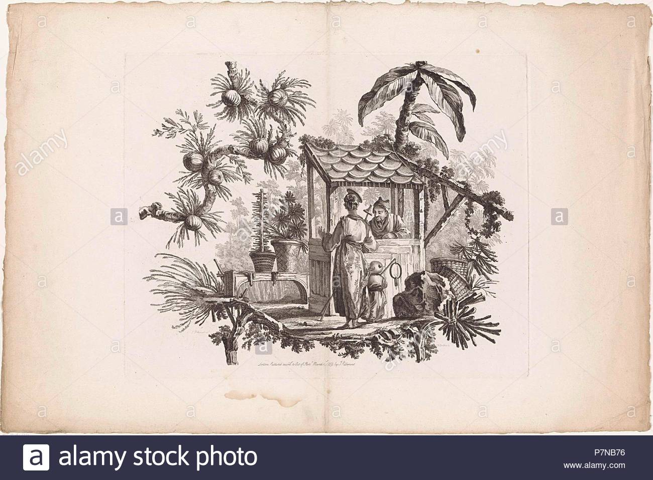 China, Chinese houses and people, I. Pillement inv. F.A. Aveline sc. Londen by I. Pillement, a Paris chez Basan. Francois Antoine Aveline, Jean Baptiste Pillement, Jean Baptiste Pillement, 1728 - 1780. - Stock Image